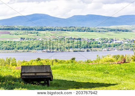 Old Vintage Wooden Wagon Overlooking Saint Lawrence River In Summer Landscape Field In Countryside W