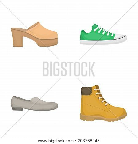 Flip-flops, clogs on a high platform and heel, green sneakers with laces, female gray ballet flats, red shoes on the tractor sole. Shoes set collection icons in cartoon style vector symbol stock illustration .