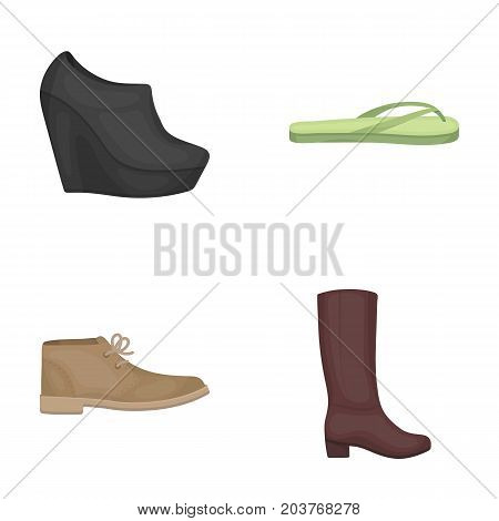 Autumn black shoes on a high platform, flip-flops green for relaxation, sandy men's autumn shoes, high brown boots. Shoes set collection icons in cartoon style vector symbol stock illustration .