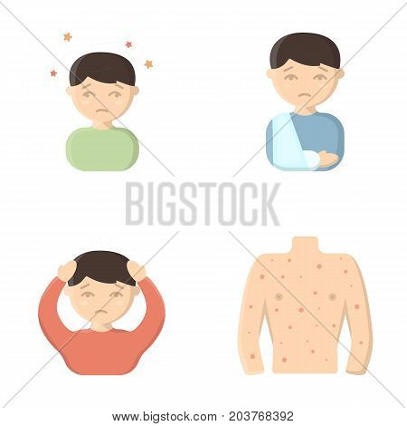 A boy with a headache, with stars, a man with a broken hand in a cast, a sick man grabbed his head with his hands, a man's torso with ulcers and a rash. Sick set collection icons in cartoon style vector symbol stock illustration .