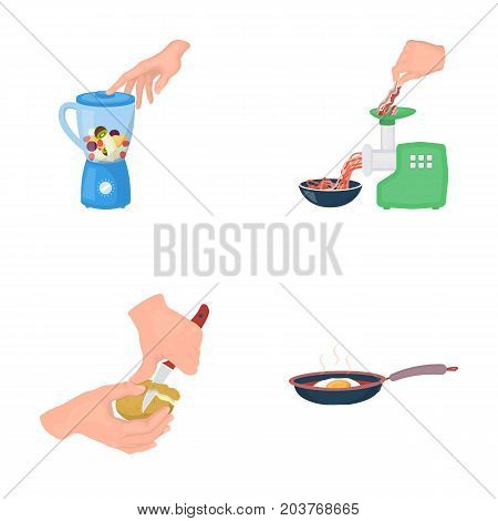 equipment, appliances, appliance and other  icon in cartoon style., cook, tutsi. Kitchen, icons in set collection.