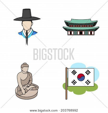 Korean in national headdress, Korean monastery, Buddha figurine, national flag. South Korea set collection icons in cartoon style vector symbol stock illustration .