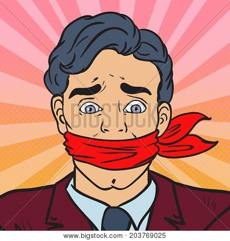 Pop Art Speechless Silenced Businessman. Business Censorship. Vector illustration
