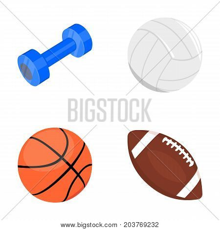 Blue dumbbell, white soccer ball, basketball, rugby ball. Sport set collection icons in cartoon style vector symbol stock illustration .