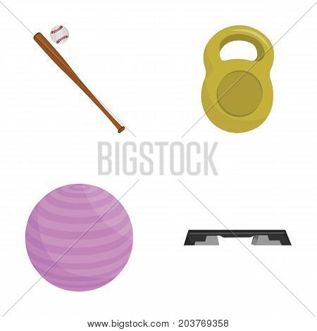 A bat with a ball for baseball, a weight for muscles, a ball for playing, a bench for fitness. Sport set collection icons in cartoon style vector symbol stock illustration .