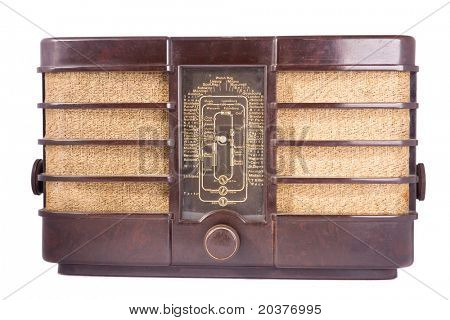vieja radio retro blanco aislado