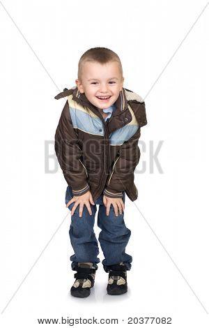 preschool boy posing in winter clothes