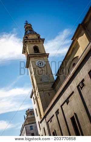 Steeple Of The Church Of Saint Carlo Borromeo, Turin, Italy