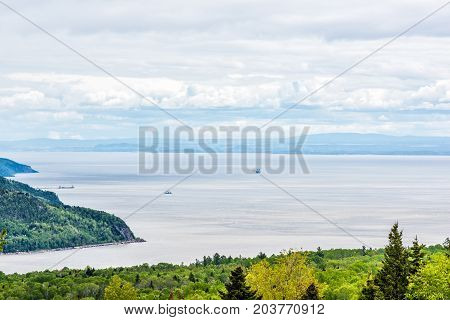 Charlevoix Region Aerial Coastal View In Quebec, Canada With Mountains, Cliffs, Forest Trees And Boa