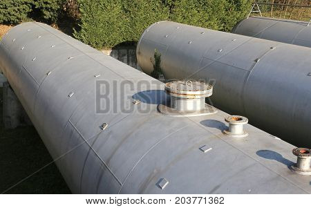 Gas Storage Tanks In An Industrial Area.