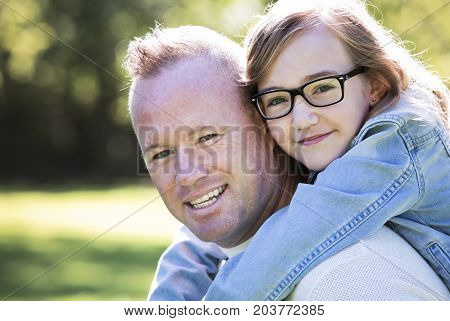 Causal Father And Daughter In The Park