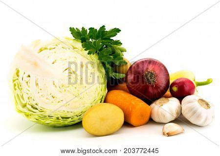 Collection of vegetables on white background, isolated
