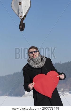 Valentine's Day Heart Crane Hook Love Attract