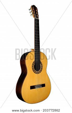 Classical six-stringed guitar with nylon strings isolated on white background.