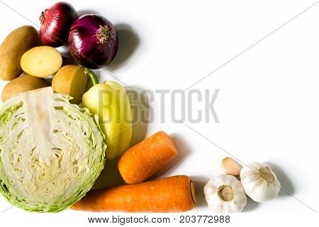 Top view of vegetables on white background, isolated