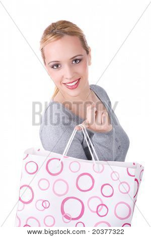 woman with shopping bags, studio photo