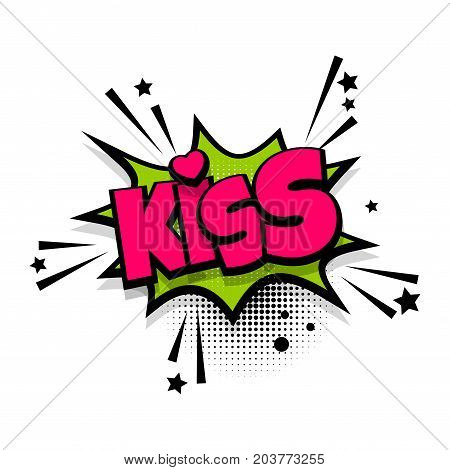 Kiss, love, heart, romantic lettering. Comics book balloon. Bubble icon speech phrase. Cartoon font label tag expression. Comic text sound effects. Sounds vector illustration.