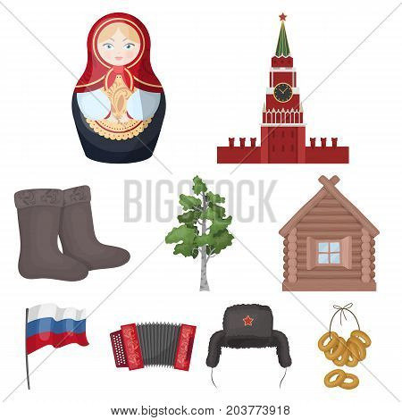 Russia country set icons in cartoon design. Big collection of Russia country vector symbol stock illustration