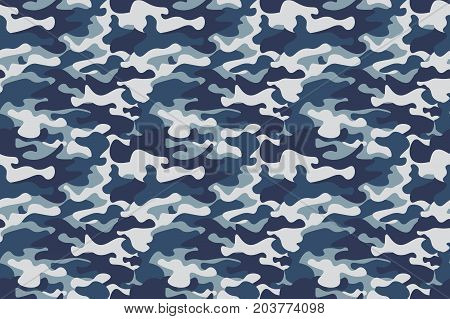 Horizontal banner seamless camouflage pattern background. Classic clothing style masking camo repeat print. Blue, navy cerulean grey colors forest texture. Design element. Vector illustration