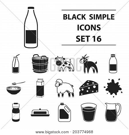 Milk set icons in black style. Big collection milk vector symbol stock