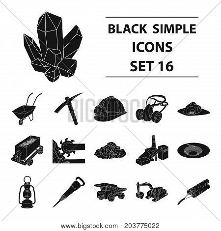 Excavator, jackhammer, helmet and other items for the mine. Mine set collection icons in black style vector symbol stock illustration .
