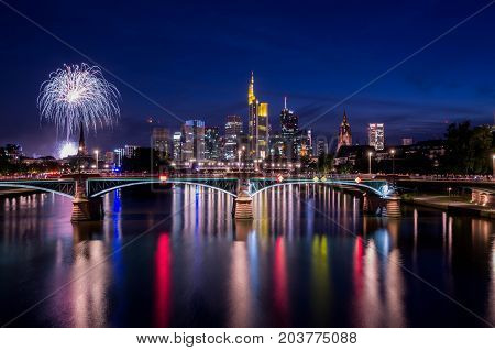 Frankfurt am Main, Hessen, Germany - August 07, 2017: Fireworks in Frankfurt am Main city during Mainfest in Frankfurt, Germany