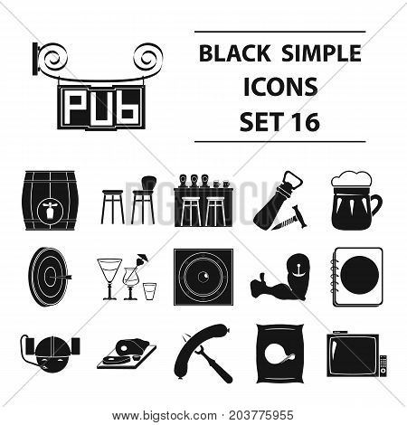 Cafe, party, alcohol, counter, food and other attributes of the pub.Pab set collection icons in black style vector symbol stock illustration .