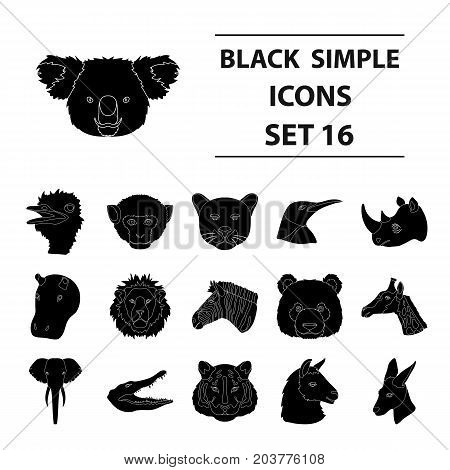 Realistic animals set icons in black design. Big collection of realistic animals vector symbol stock illustration