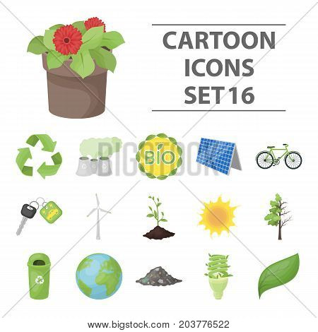Bio and ecology set icons in cartoon design. Big collection of bio and ecology vector symbol stock illustration