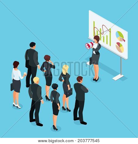 Isometric businesswoman with megaphone speaking before a group of people. Businesswoman with a loudspeaker makes a warning. 3d people in different poses listen to the speaker. Vector illustration.