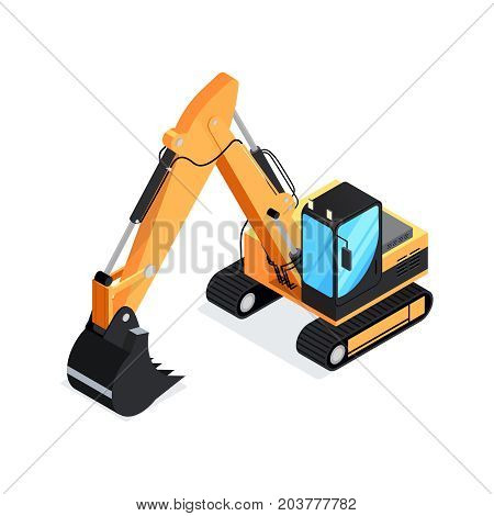 Isometric excavator isolated on white background. 3d icon construction digger. Special construction machinery. Vector illustration.