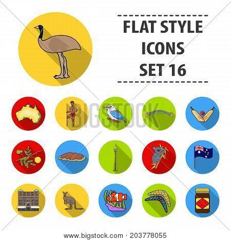 Australia set icons in flat design. Big collection of Australia vector symbol stock illustration