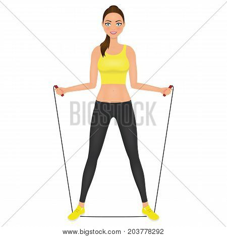 Beautiful fitness womanin leggings and crop top posingn with jumping rope. Fit girl in sportswear. Vector character.