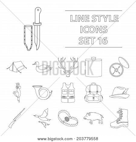 Hunting set icons in outline style. Big collection of hunting vector symbol.