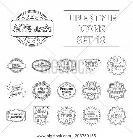 Label set icons in outline style. Big collection of label vector symbol stock