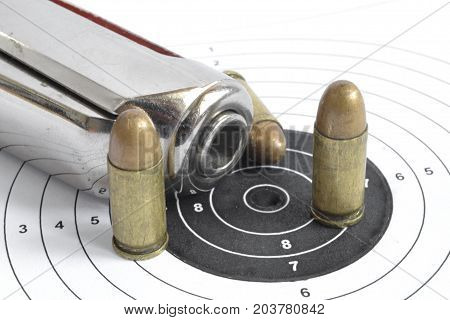Pistol target and ammunition on the white background.