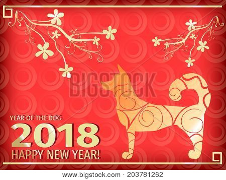 2018 Dog year zodiac. Chinese New Year greeting vector card. Gold and red shades with the symbol of the new year. Chinese red lanterns.