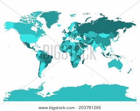 World map in four shades of turquoise on white background. High detail blank political map. Vector illustration with labeled compound path of each country.