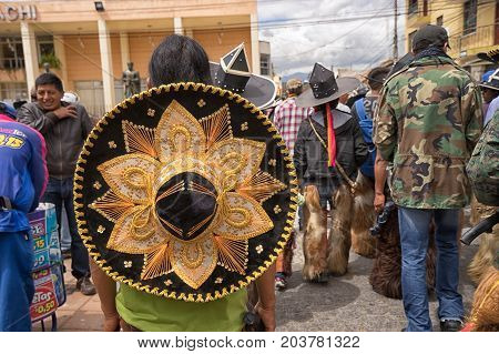 June 25 2017 Cotacachi Ecuador: sombreros worn during Inti Raymi as a sign of protest against the colonization