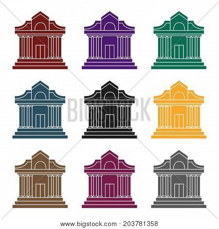 Museum building icon in black style isolated on white background. Museum symbol vector illustration.