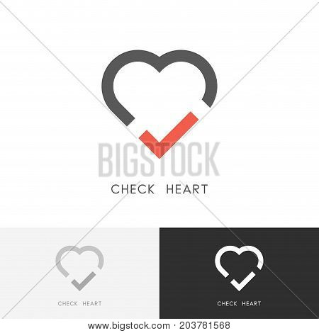 Check heart logo - red tick mark and love symbol. Marriage agency, health and medicine vector icon.