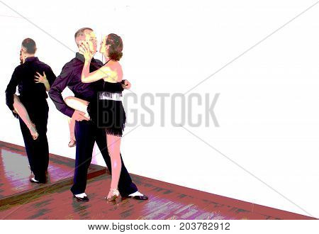 Couple of dancers with attractive latin costumes dancing salsa and different latin caribbean rhythms