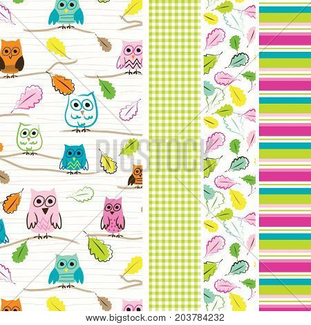 Owl seamless pattern with coordinating gingham, leaf and stripe print. Seamless patterns