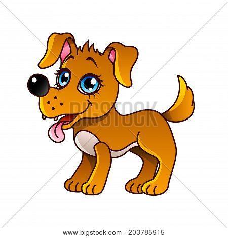 Cartoon dog isolated on white vector illustration