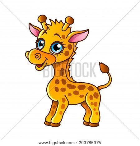 Cartoon giraffe isolated on white vector illustration