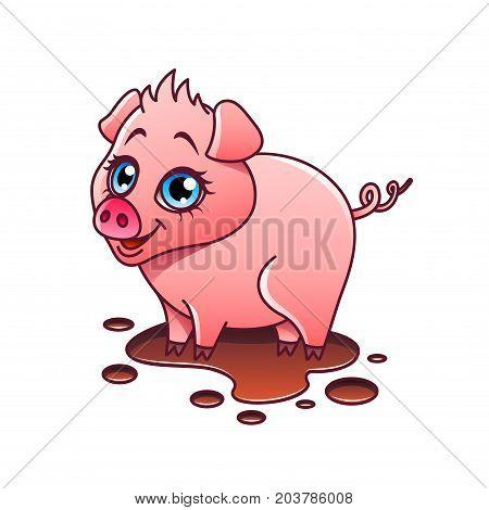 Cartoon pig isolated on white vector illustration