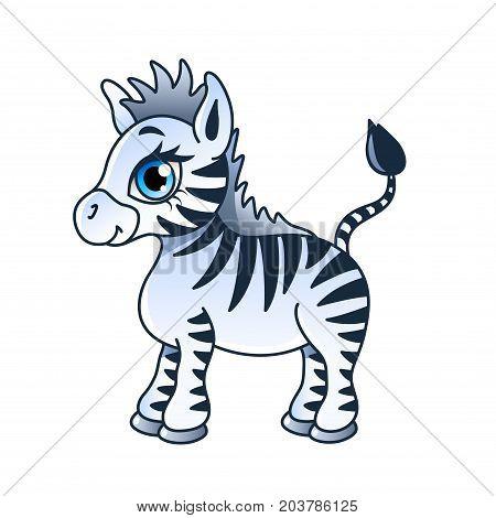 Cartoon zebra isolated on white vector illustration