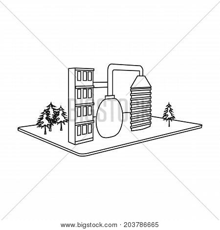 Processing factory. Factory and industry single icon in outline style isometric vector symbol stock illustration .