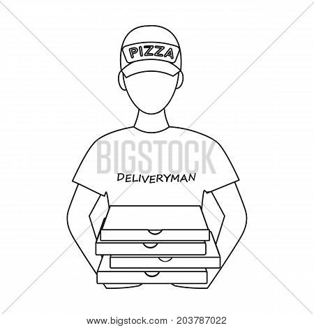 Courier on the delivery of pizza. Logistics and delivery single icon in outline style isometric vector symbol stock illustration .