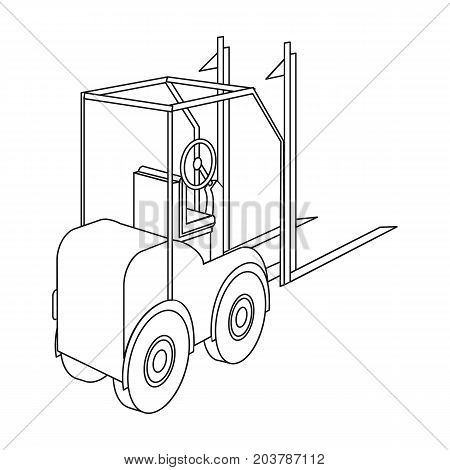 Loader for moving loads. Transportation and delivery single icon in outline style isometric vector symbol stock illustration .
